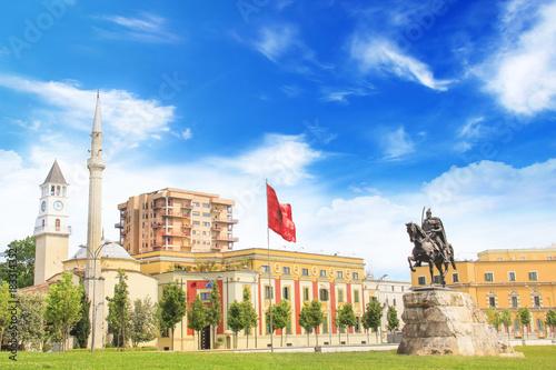 Monument to Skanderbeg in Scanderbeg Square in the center of Tirana, Albania Canvas Print