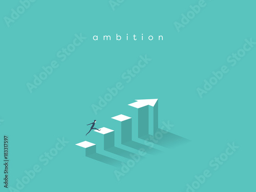 Businessman running to the top of the graph Canvas Print