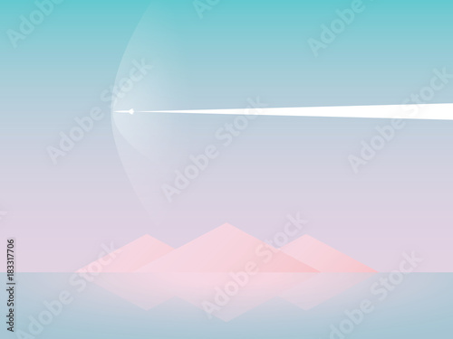 Beautiful Abstract Fantasy Sci Fi Vector Landscape