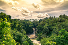 Magical And Bucolic Eden Waterfall Evening In Bali. Tegenungan.