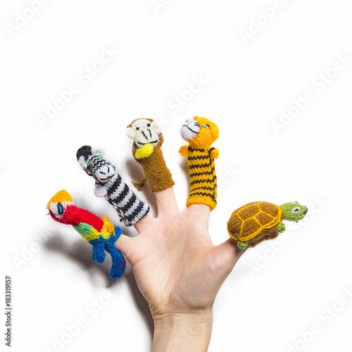 mano con burattini di lana per le dita