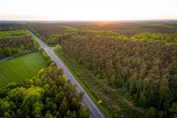 Wald mit Landstraße in Deutschland