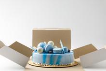Blue Tasty Cake In Opened Box ...