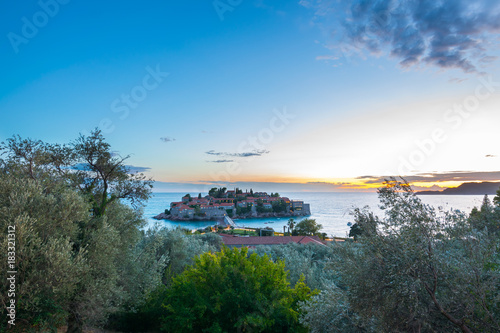 Foto op Aluminium Strand Wonderful Sunset at Saint Stephen (Sveti Stefan), Adriatic Sea, Balkan Peninsula, Montenegro, Europe