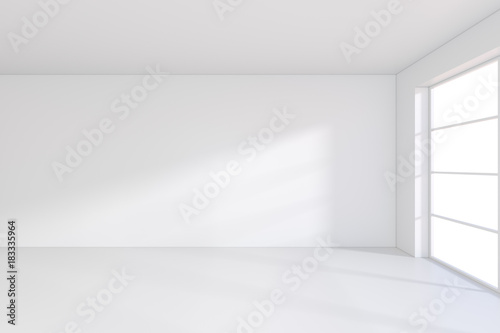 Fototapety, obrazy: large office with windows and falling light from the window to the floor. 3D rendering.