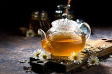 Glass Teapot Of Fragrant Chamo...