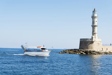 Lighthouse In Chania Town. Good, Sunny Weather.