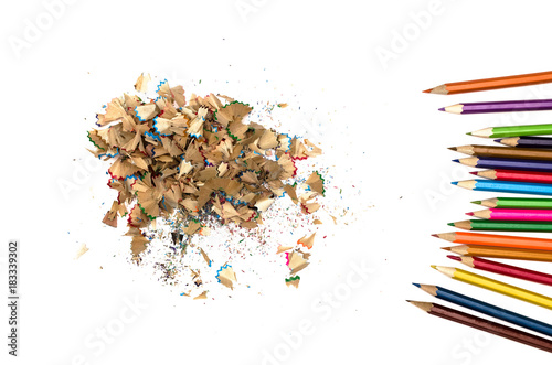 Fotografia, Obraz  Color pencils and shavings from a color pencils isolated on white background