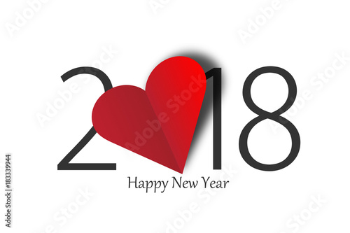 Fotografia, Obraz  happy new year 2018 with heart on white background
