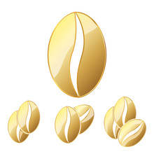 Golden Coffee Beans. Vector Il...