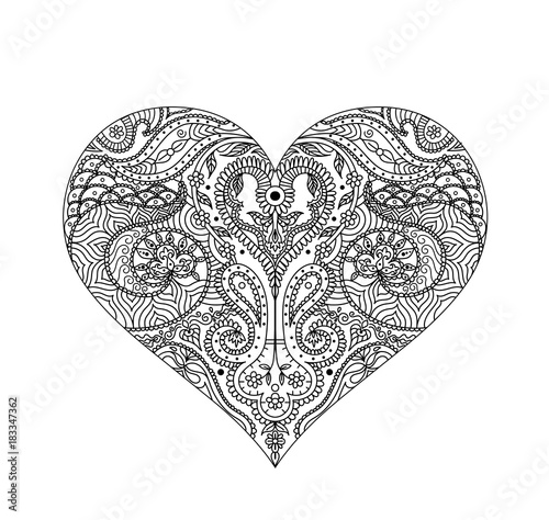 Vector Indian Henna Design For T Shirt Or Web Isolated On White
