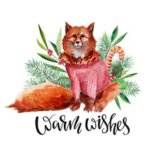 "Christmas Card And New Year Illustration With Red Fox In Sweater, Firtree, Holly, Olive Branch, And Lettering ""Warm Wishes"". Watercolor Handdrawn Paint Isolated On White Background."
