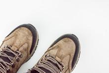 Mountain Hiking Boots On White...