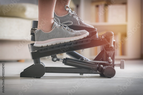 Fotografie, Obraz  Exercises with stepper at home