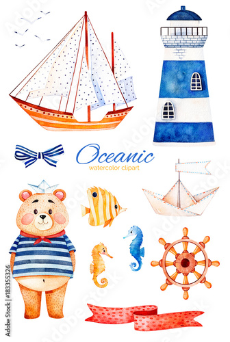 Nautical watercolor set. Ocean creature with cute bear,lighthouse ...