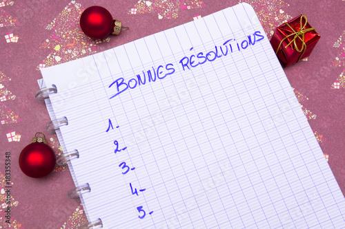 Photo cahier bonnes résolutions