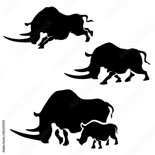 Tablou Canvas Rhino vector silhouettes.