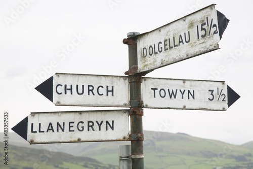 welsh direction signpost wales buy this stock photo and explore