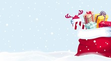 Santa Claus Red Sack With Gift Boxes Isolated On Snowy Background.Merry Christmas And Happy New Year Vector Background. Winter Cartoon Illustration