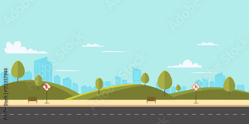 Garden Poster Light blue Street in public park with nature landscape and building background vector illustration.Main street scene with public sign vector.City street with sky background
