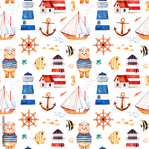image relating to Sailboat Printable titled Nautical watercolor seamless routine.Multicolored heritage