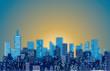 blurry cityscape sunrise