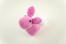 Pink Crochet Rabbit From Above