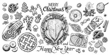 Christmas Dinning Table, Vector Illustration. Wintertime Food And Drinks Top View.