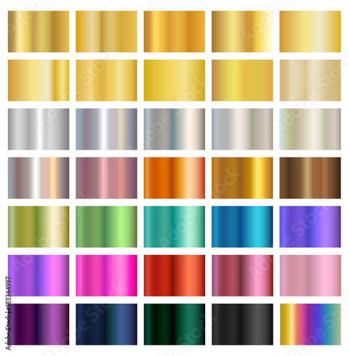 Fototapeta Multicolored metallic gradient backgrounds, metals, silver, gold, bronze, brass, copper, eps10 vector obraz