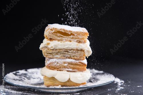 Fotografie, Obraz  millefoglie puff pastry
