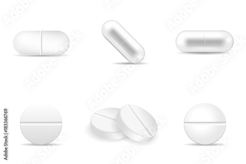Fototapeta Set of realistic pills in any shapes and forms. Collection of oval, round and capsule shaped tablets. Medicine and drugs vector illustration. obraz na płótnie