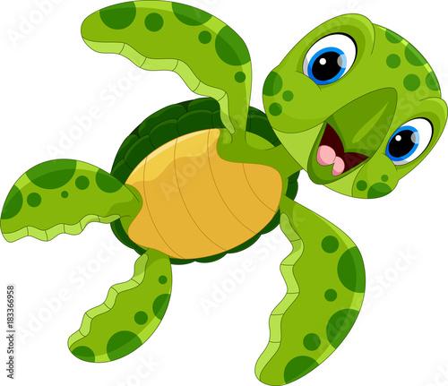 Naklejka premium Ilustracja wektorowa ładny żółw kreskówka na białym tle