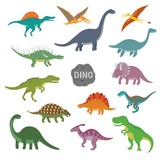 Fototapeta Dino - Vector illustration of happy Cartoon Dinosaur Character Set