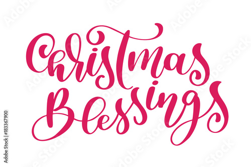 text Christmas Blessings hand written calligraphy lettering Canvas Print