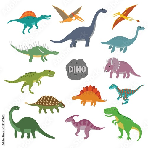 Vector illustration of happy Cartoon Dinosaur Character Set Wallpaper Mural