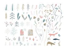 Forest Doodle Elements. Hand D...
