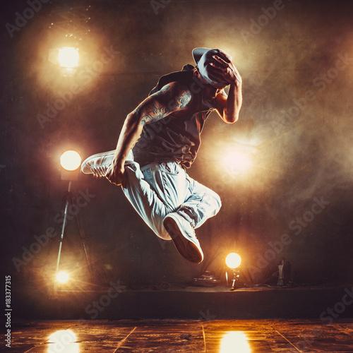 Young man break dancer Canvas Print