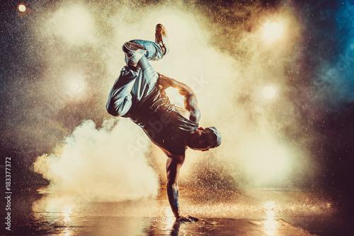 Young man dancing Canvas Print