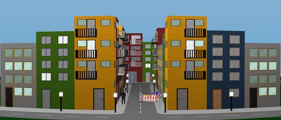 Panel Szklany Stadtlandschaft mit bunten Häusern, Personen, Baustelle und Straßenschildern. Panorama