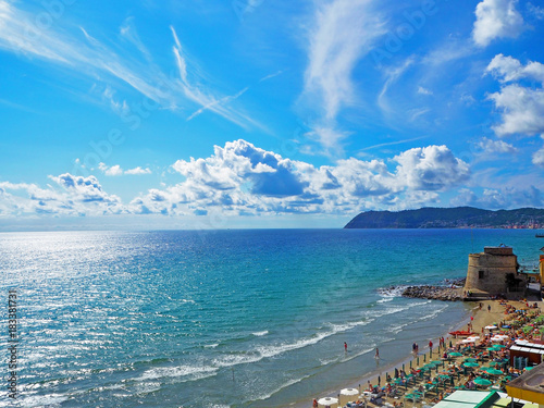 The historic Saracen tower on the beach in the Mediterranean city of Alassio on Poster