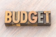 budget word abstract in wood type