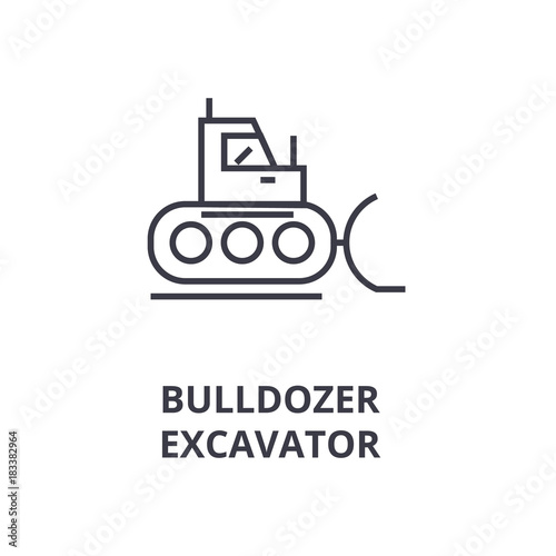 Bulldozer Excavator Line Icon Outline Sign Linear Symbol Flat Vector Illustration