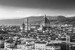 Beautiful view on hard of amazing Florence city and the Cathedral at sunrise, Florence, Italy