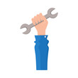 vector flat car service design objects icon. Man hand in working uniform holding wrench. Mechanics maintenance concept. Isolated illustration on a white background.