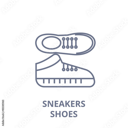 Cuadros en Lienzo sneakers shoes line icon, outline sign, linear symbol, flat vector illustration