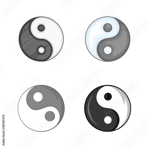 Photo  Yin yang symbol icon set, cartoon style