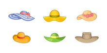 Woman Hat Icon Set, Cartoon St...