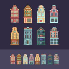Set Of Customizable Pixel Art European Houses.