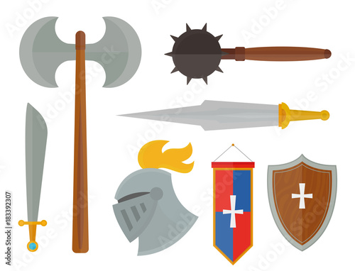Knights symbols medieval weapons heraldic knighthood elements medieval kingdom gear knightly vector illustration Canvas Print