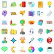 Internet marketing icons set, cartoon style